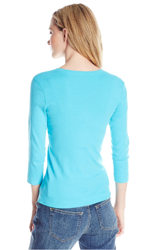 Three Dots Women's 3I4 Sleeve V-Neck