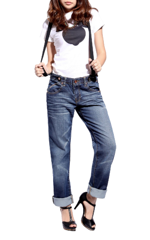 Jeans Free Suspenders Light Blue Denim Pants