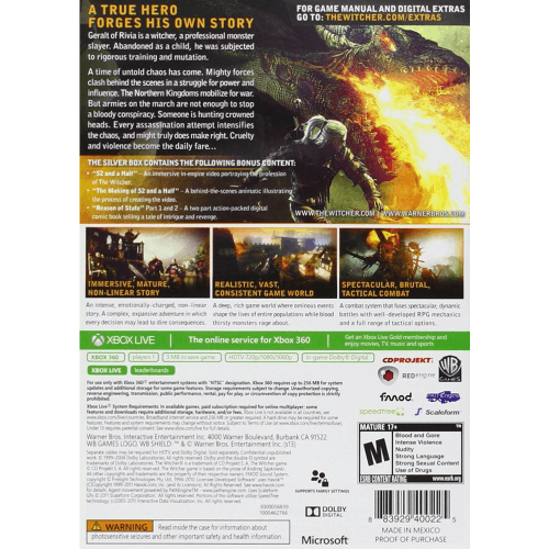 The Witcher 2- Assassins Of Kings - Silver Edition - Xbox 360