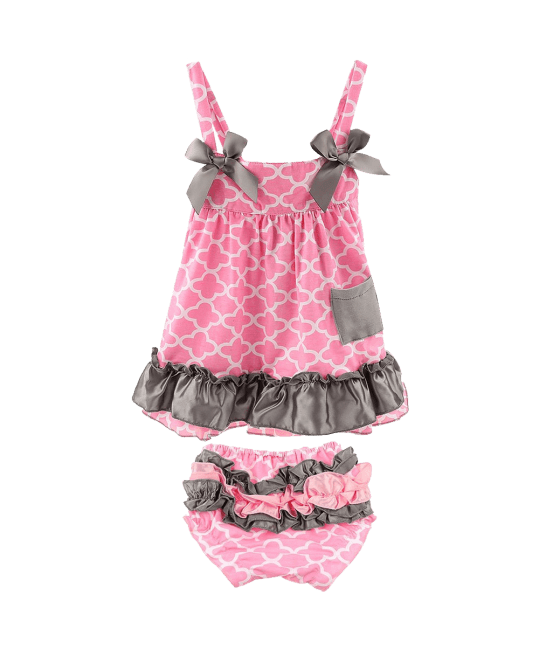 Toddlers Infant Girls Cotton Cute Dress+ Underpants Outfit Sets