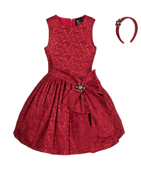 Love Made Love Burgundy Jacquard Dress & Hairband 2 Piece Set