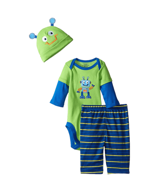 Gerber Baby Boys' Three-Piece Bodysuit Cap and Pant Set