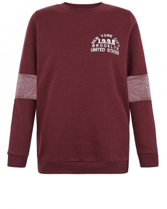 Mesh Sleeve 1998 Print Sweater