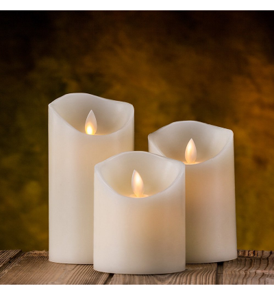 Ivory Wax & Amber Yellow Flame Candles with Remote