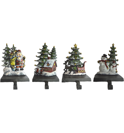 Lulu Decor Cast Iron Christmas Stocking Holder Set