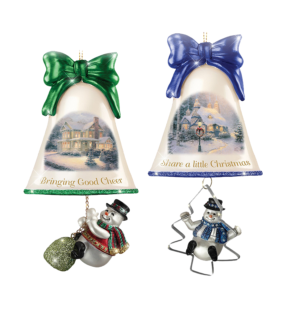 Thomas Kinkade Ringing In The Holidays Ornament Set