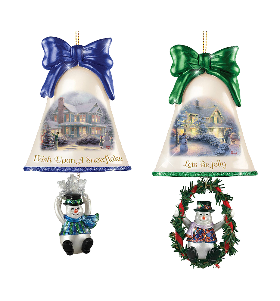 Thomas Kinkade Ringing In The Holidays Ornament Set