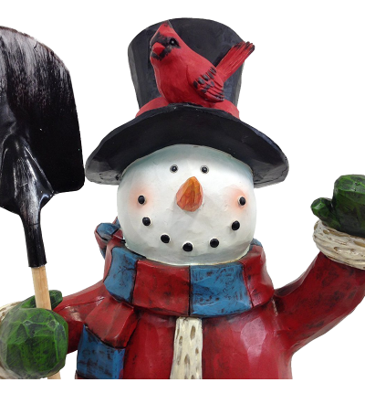 Festive Holiday Snowman Sculpture 20 Inch