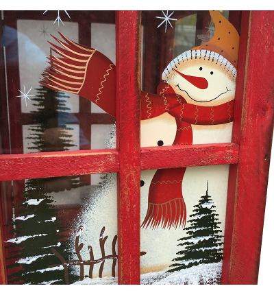 Candle Holder Lantern with Hand painted Christmas Snowman