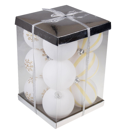 Large White Shatterproof Christmas Ornaments