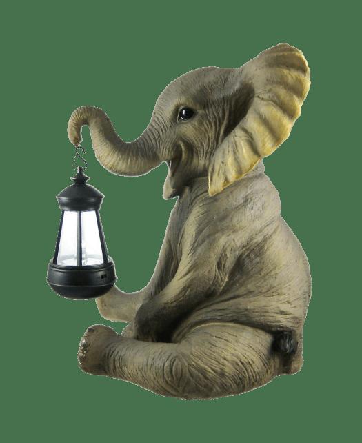 Cute African Elephant Porch - Garden Statue W- Lantern