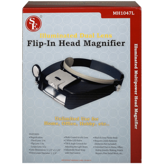 SE MH1047L Illuminated Multipower LED Binohead Magnifier