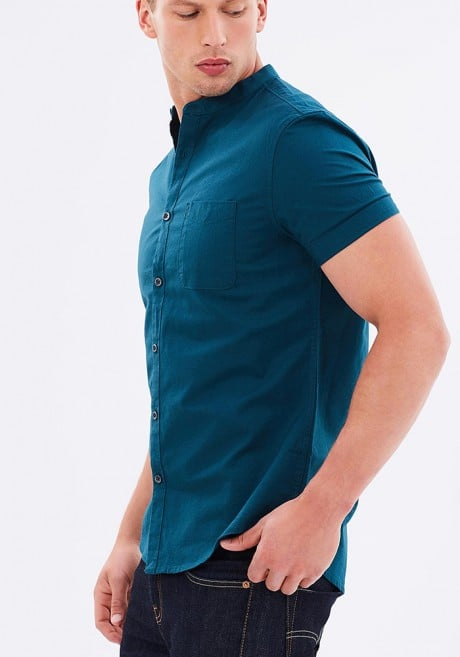 Burton Menswear SS Teal Oxford Grandad Collar Shirt