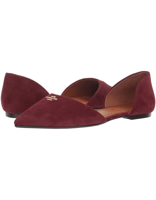 Coach Suede Pointy Toe Flat