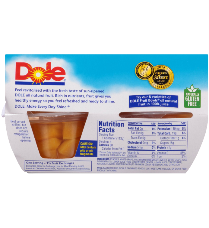 Dole Fruit Bowls Diced Peaches in 100% Fruit Juice 4 Ounce 4 Cups