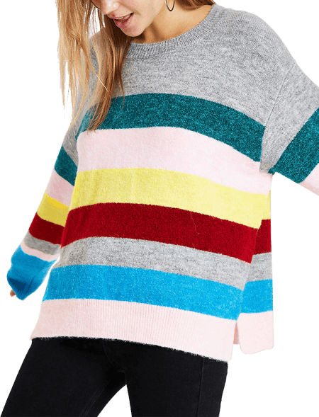 Pink Stripe Knit Side Split...