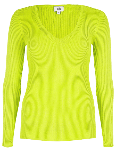 Bright Yellow V Neck Ribbed...