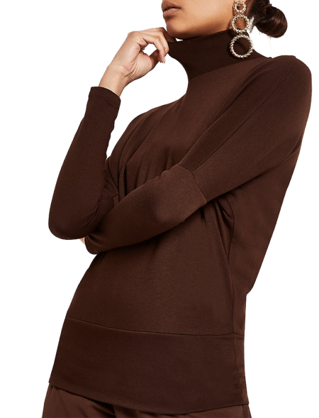 Dark Brown Roll Neck...