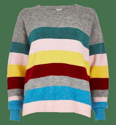 Pink Stripe Knit Side Split...