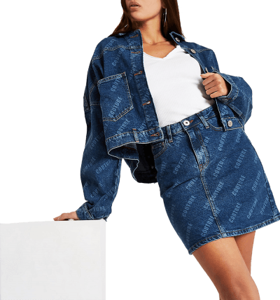 Blue `Couture` Print Denim...