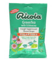 Ricola Cough Suppressant Throat Drops Green Tea with Echinacea Sugar Free 19 Drops