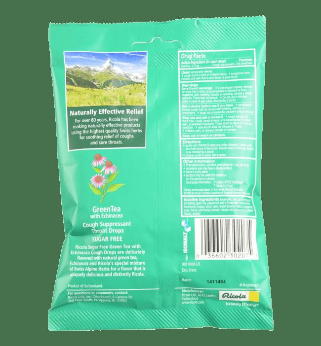 Ricola Cough Suppressant Throat Drops Green Tea with Echinacea Sugar Free 19 Drops