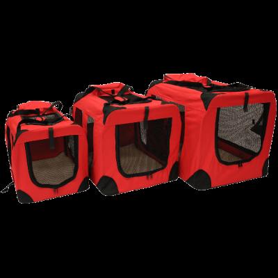 Pet Carrier Crate with Fleece Mat and Food Bag