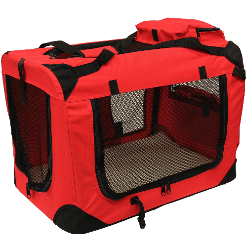 Pet Carrier Crate with Fleece Mat and Food Bag