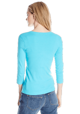 Women's 3/4 Sleeve Deep V Neck Tee