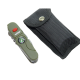 16 Function Folding Pocket Knife with Army Green Rubber Grip