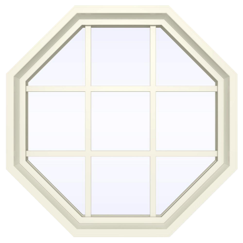 V-4500 Series Fixed Octagon Vinyl Window with Grids