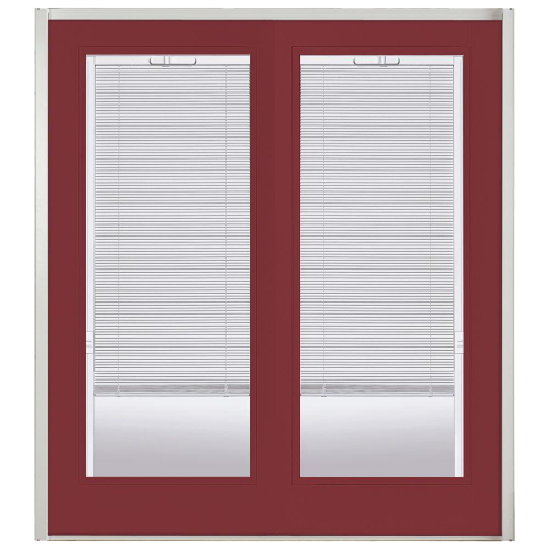 Willow Wood Prehung Left-Hand Inswing Mini Blind Steel Patio Door with No Brickmold