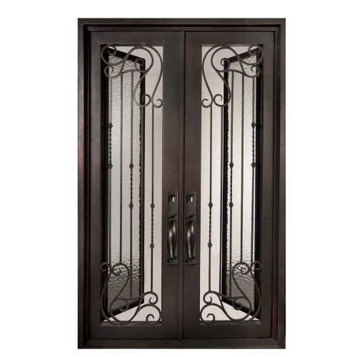 Painted Bronze Decorative Wrought Iron Prehung Front Door