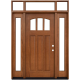 Craftsman 3 Lite Arch Stained Mahogany Wood Prehung Front Door