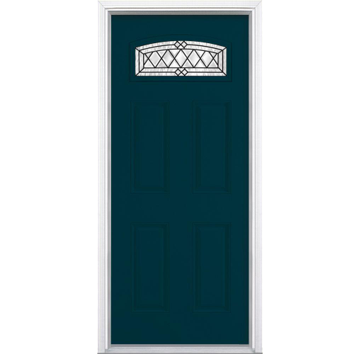 Fiberglass Prehung Front Door with Brickmold