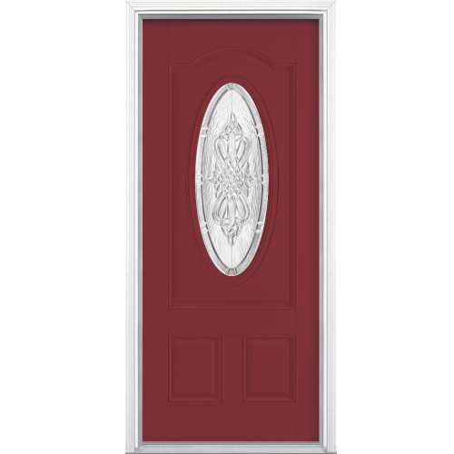 Oval Lite Painted Smooth Fiberglass Prehung Front Door with Brickmold