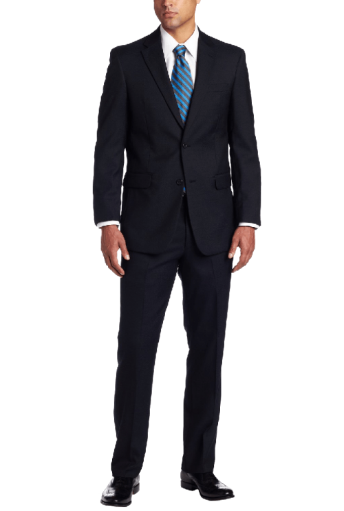 Men's 2 Button Side Vent Trim Fit Suit with Flat Front Pant