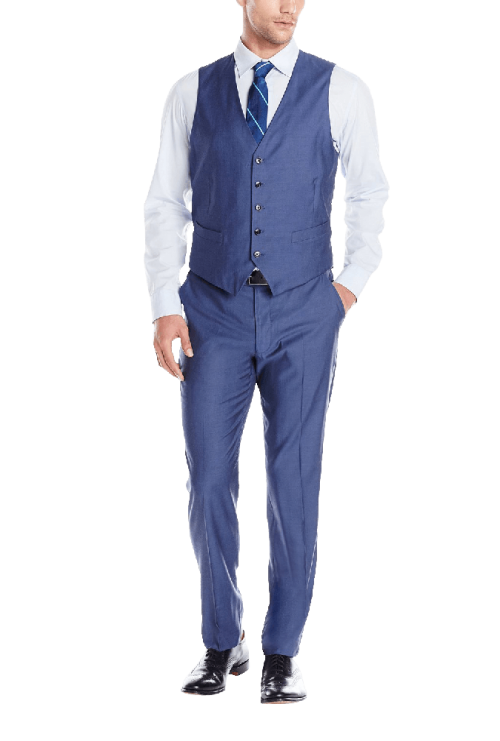 Two Button Vested Suit with Flat Front Pant