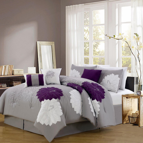 7 Piece Modern Embroidered Comforter Set