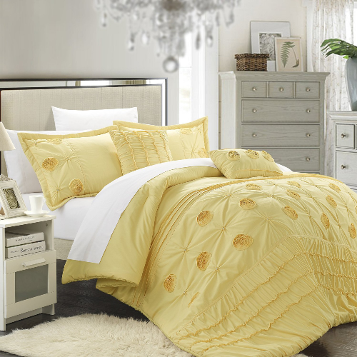 5-Piece Florentina Floral Pleated Comforter Set