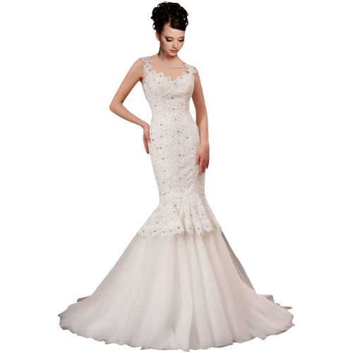 White Strap Ball Gown In Lace Wedding Dressress