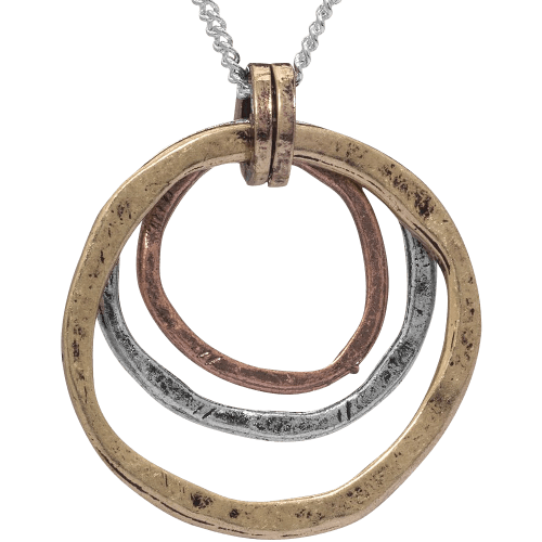 Necklace Triple Circles in Tri-Tone Copper - Brass and Silver