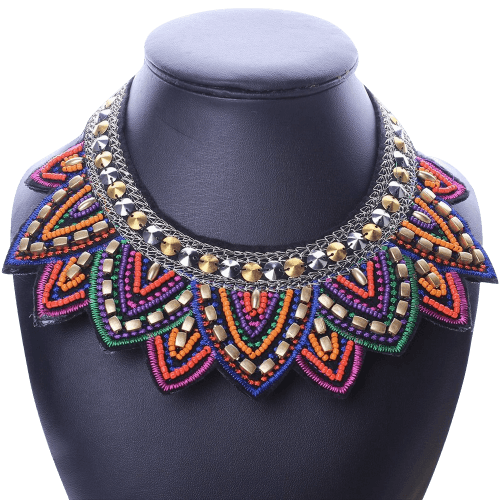 Spiky Geometric Triangle Charm Bib Pendant Necklace