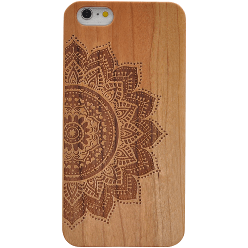 Handmade Natural Wood Backplate and Hard PC Hybrid Snap On Cover Case