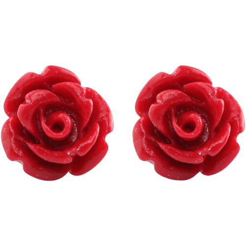 Handcrafted Resin Color Simulated Coral Rose Flower Earring