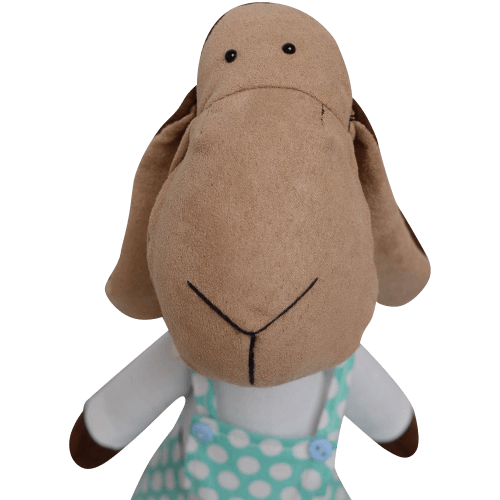 Handmade suede and cotton soft toy lamb