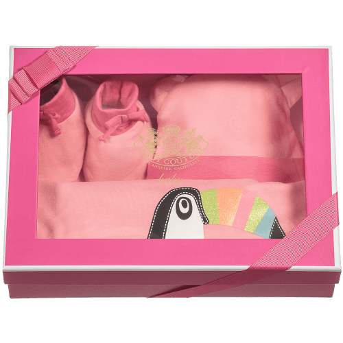 Juicy Couture Baby Girls Pink Blanket Hat & Bootees Gift Set