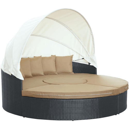 Outdoor Wicker Rattan Patio Daybed with Canopy