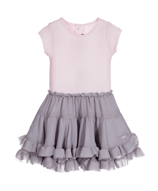 Lili Gaufrette Pale Pink & Grey Cotton & Chiffon Dress