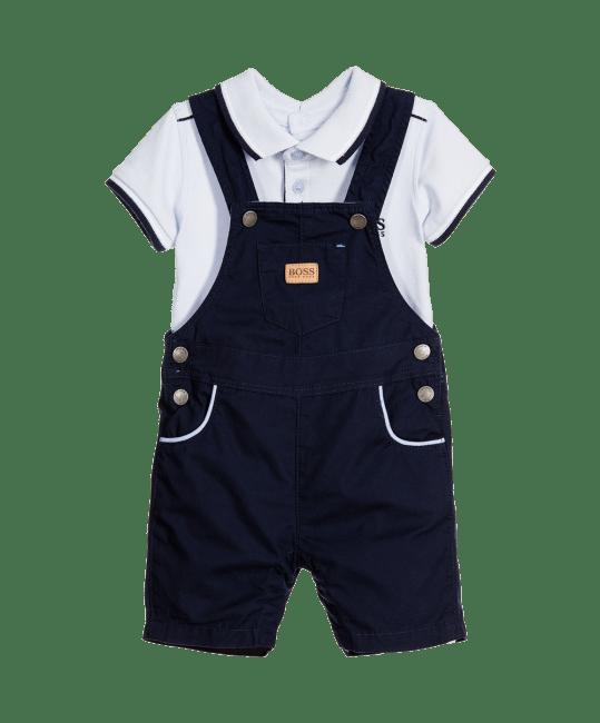 BOSS Baby Boys Blue Dungarees & Bodyvest Set